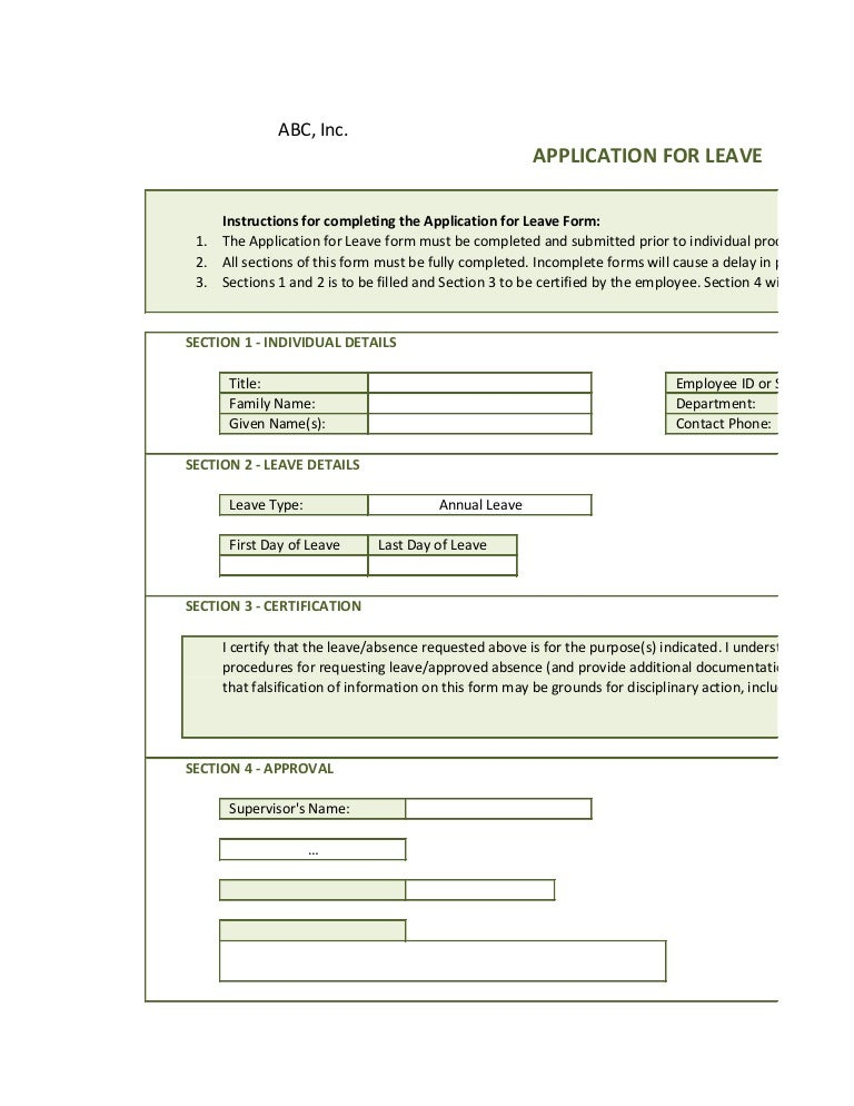 Application Leave Form Online