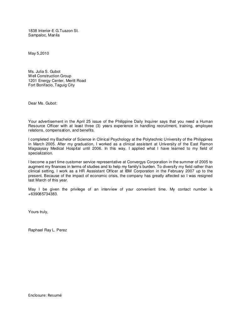 Application Letter In Philippines Sample Application Letter For