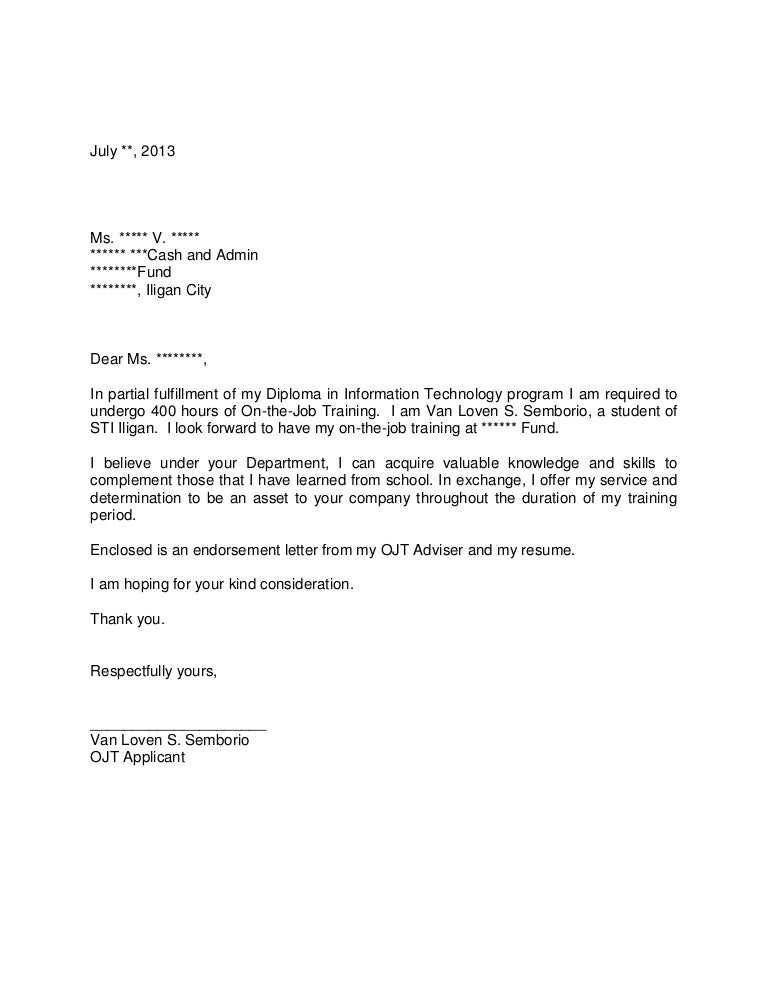 sample application letter for ojt bsba