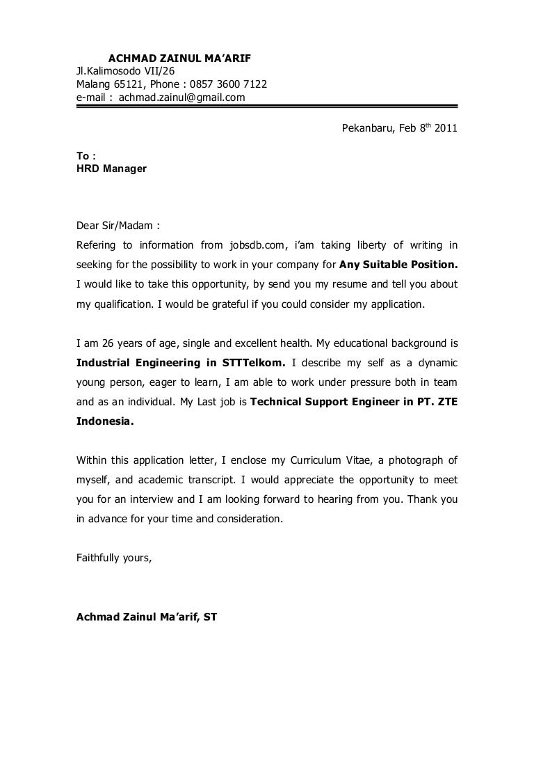 application letter  u0026 cv