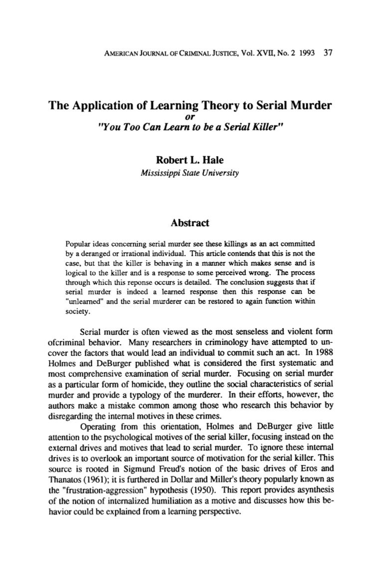 Application of learning theory to serial murder