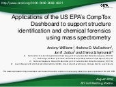 Applications of the US EPA's CompTox Chemistry Dashboard to support structure identification and chemical forensics using mass spectrometry