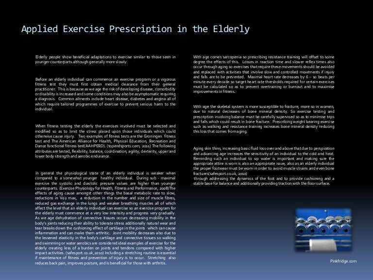 Applied exercise prescription in the elderly