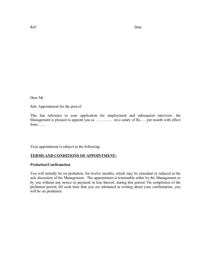 appointmentletter-format-150526092819-lva1-app6892-thumbnail-4 T Appointment Letter Template on missed doctor, missed your, doctor-patient reschedule, sample trustee,