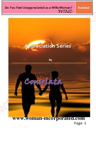 Appreciation Series: Do You Feel Unappreciated As a Wife/Woman? (1-4)