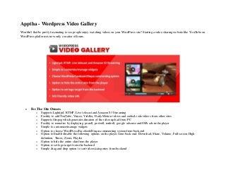 Apptha wordpress video gallery