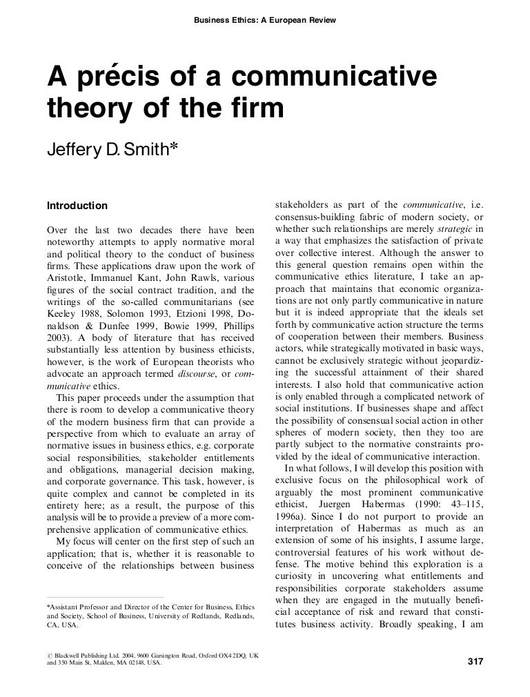 a precis of a communicative theory of the firm