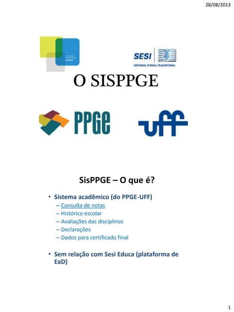 Apresentação do sis ppge primeiro acesso