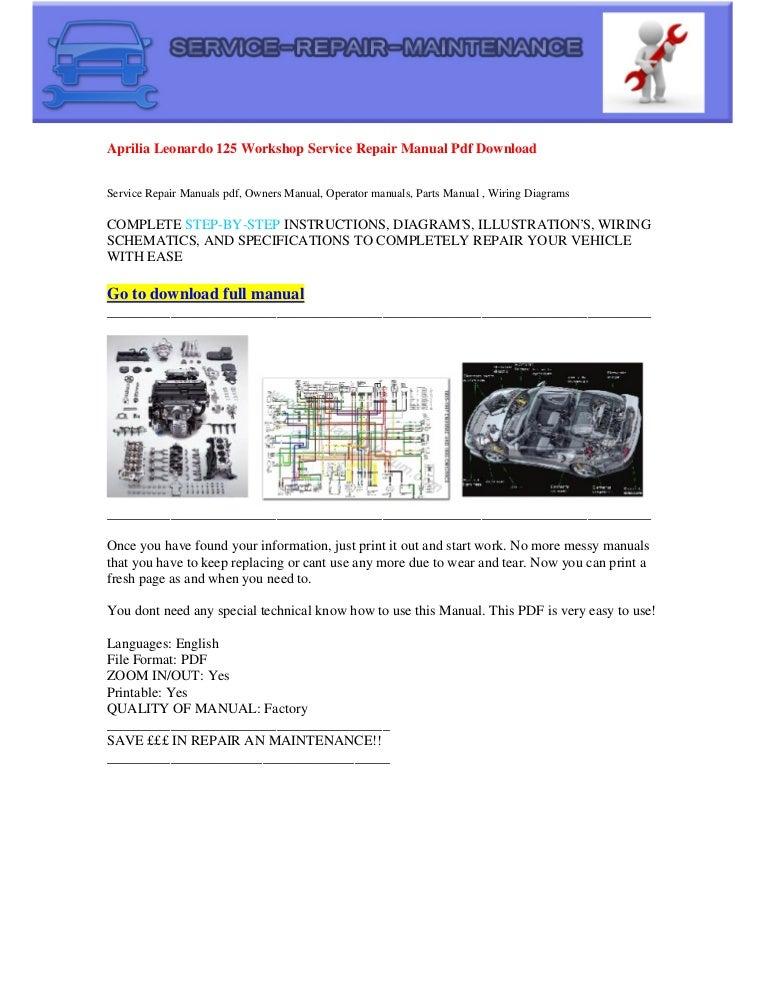 Aprilia Leonardo 125 Workshop Service Repair Manual Pdf Download