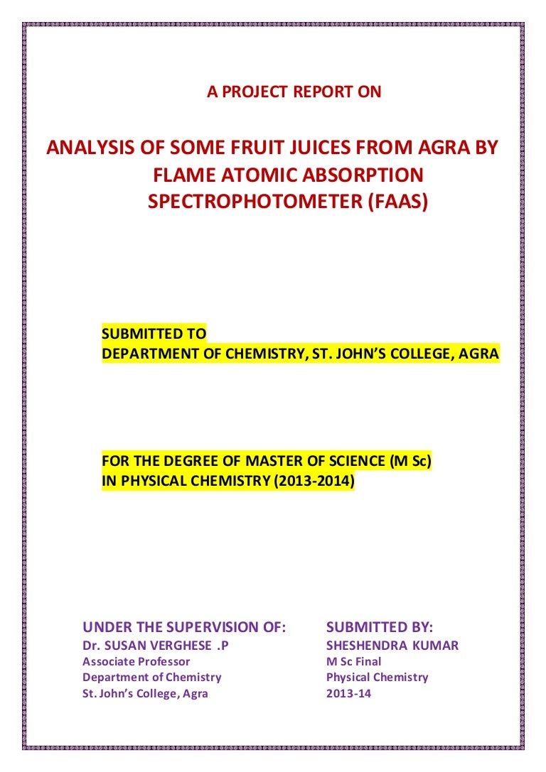 a project report on fruit juices
