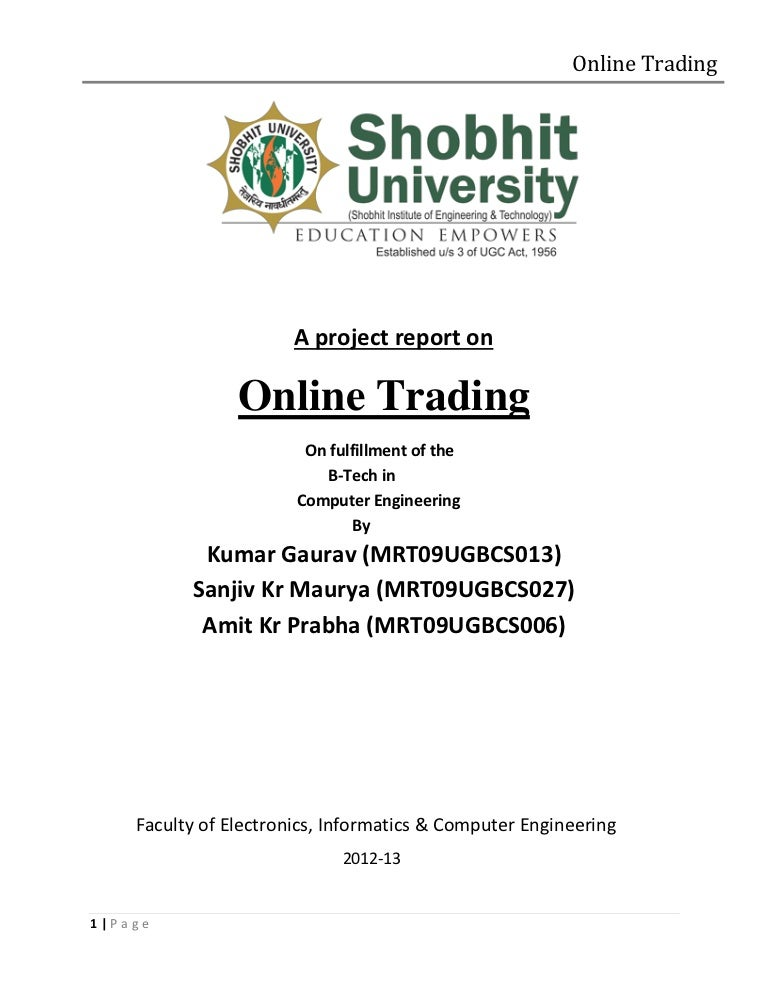 A project report on online trading yelopaper Gallery