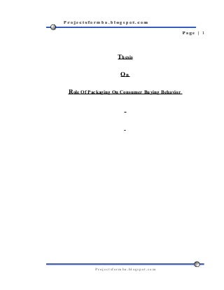 Dissertation report on buying behavior of fmcg products