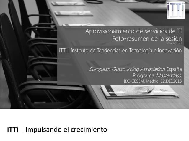 Aprovisionamiento de servicios de TI. Foto-resumen de la sesión (Spanish)