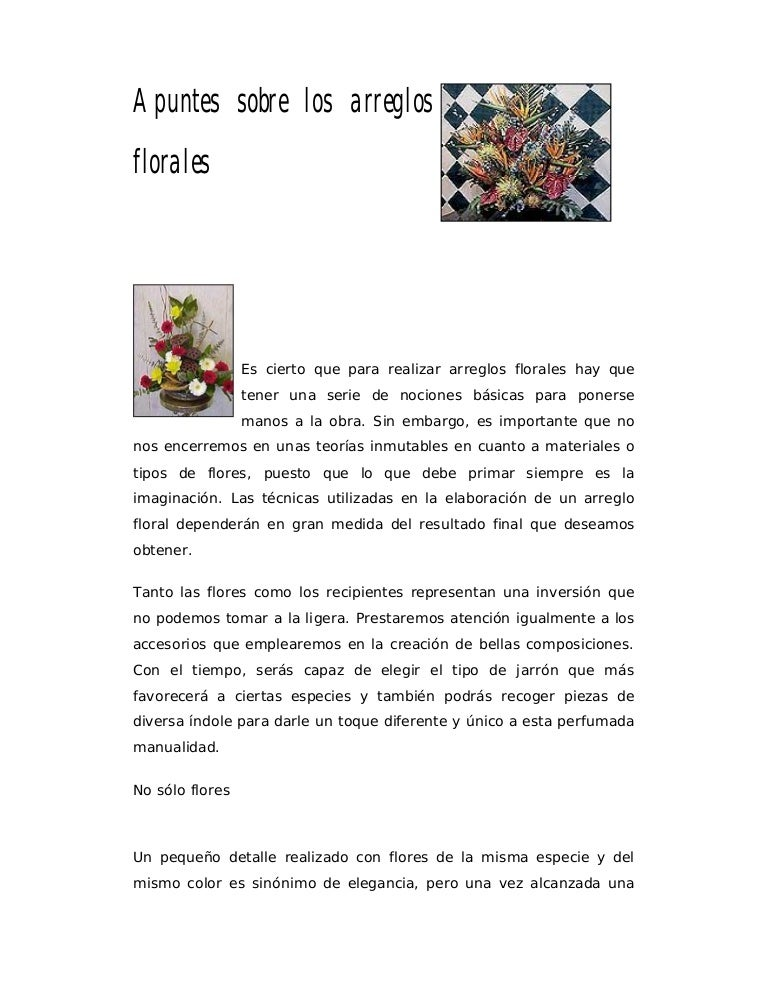 Apuntes Sobre Los Arreglos Florales