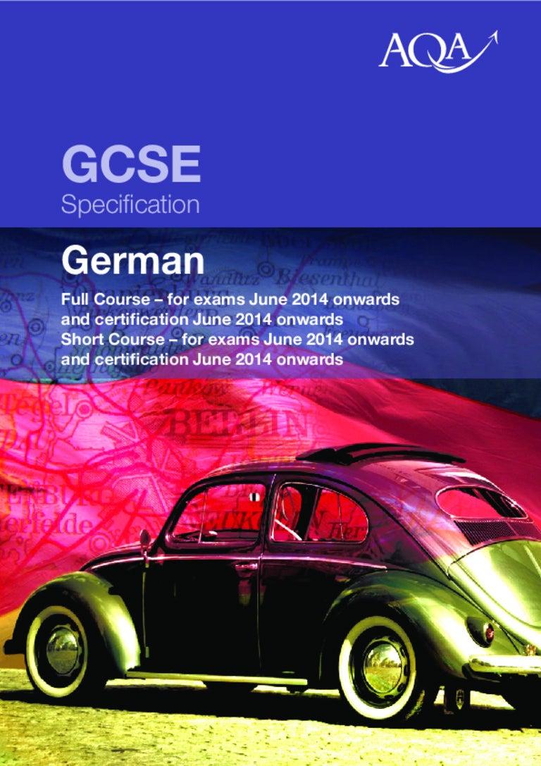 GCSE German Specification 2013