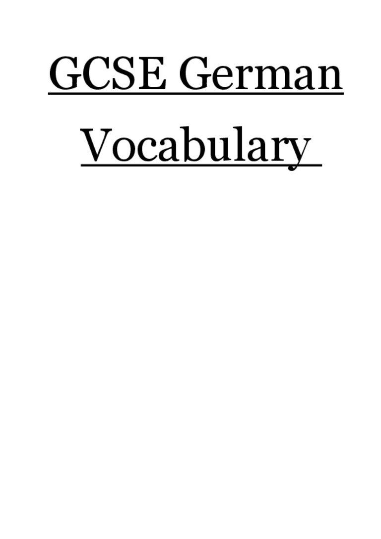 AQA GCSE German Vocabulary booklet - OSA - 2013