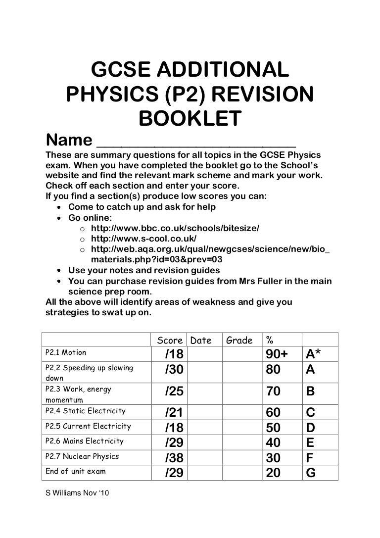 Gcse Physics Revision Booklet Circuit Diagram