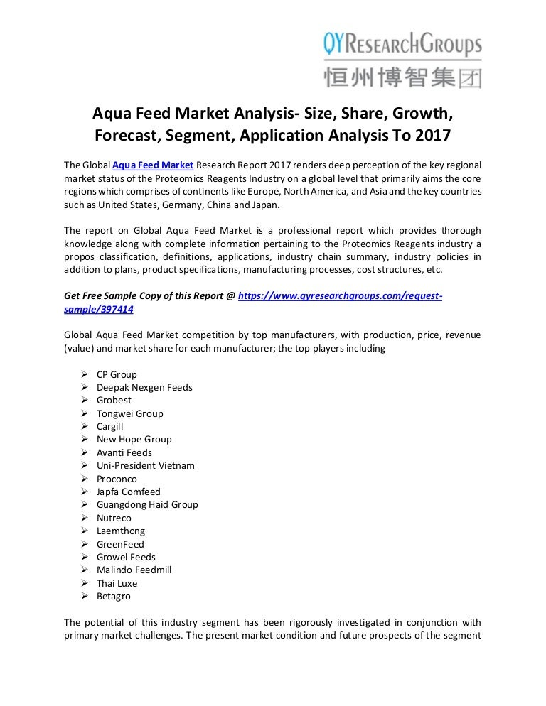 Aqua Feed Market Analysis Size, Share, Growth, Forecast, Segment, Ap…