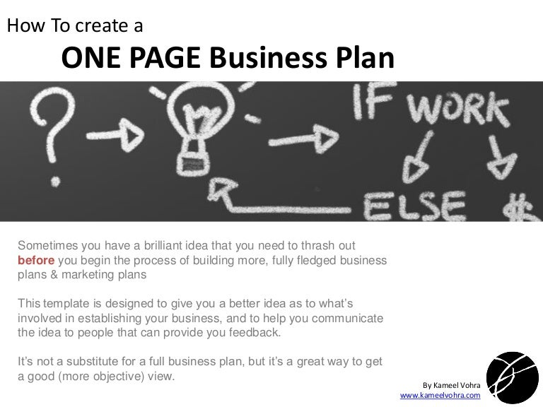 A quick one page business plan template flashek Gallery