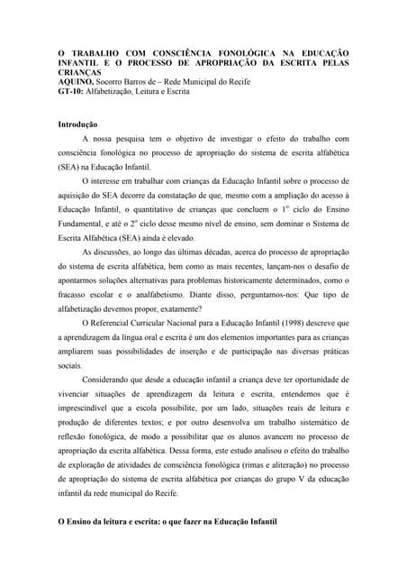 Aquino   consciência fonológica na educação infantil