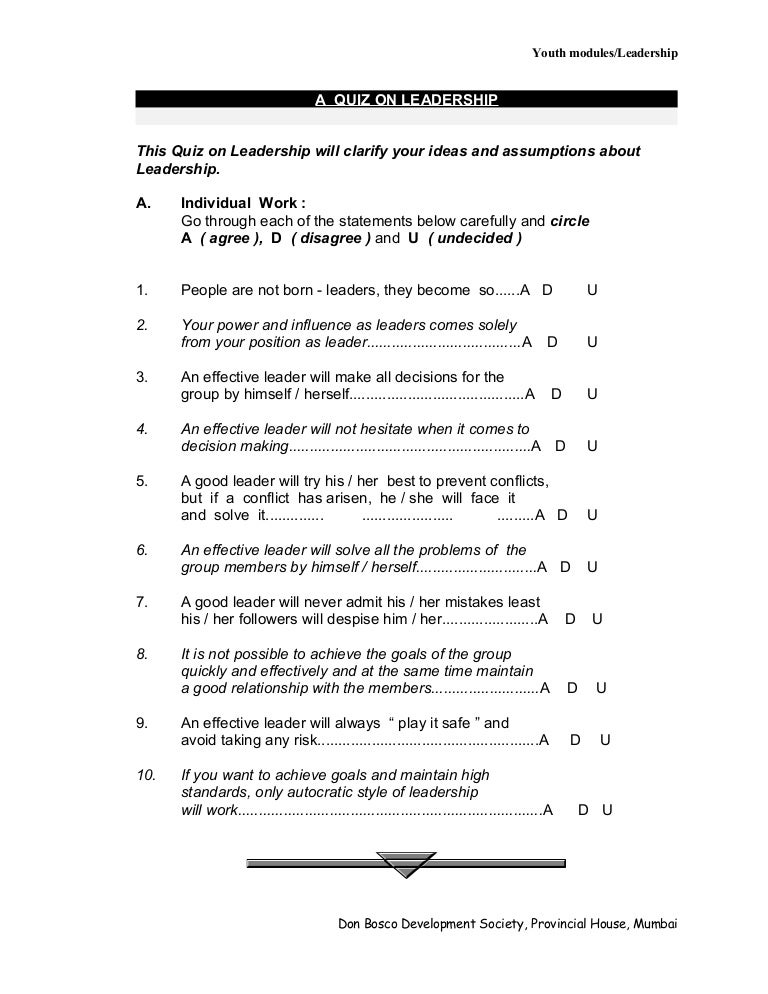 photo relating to Leadership Quiz Printable known as A Quiz Upon Management