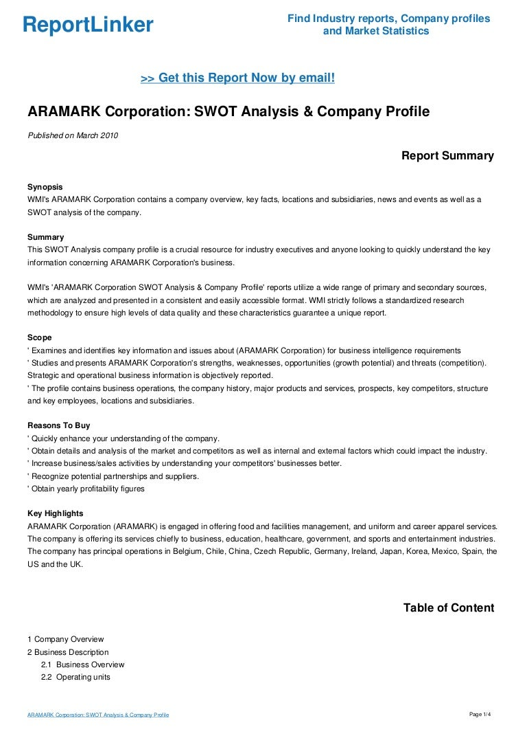 aramark corporation swot analysis company profile