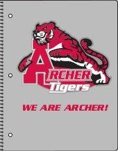 Archer HS Spiral-bound Notebook: Gray Background & Red Tiger Mascot