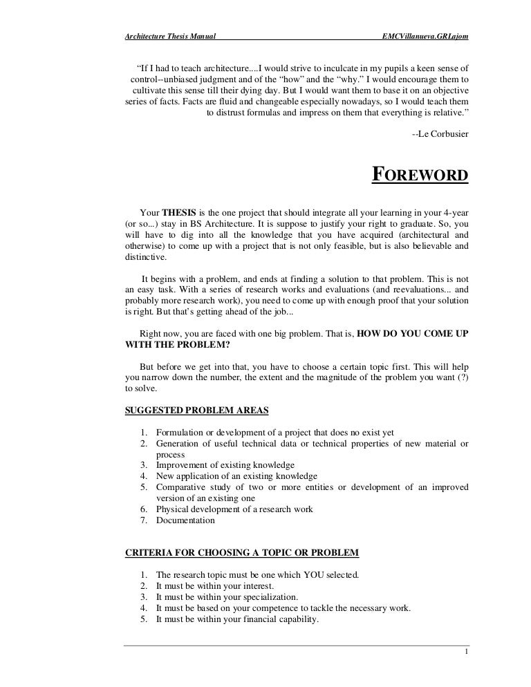architecture thesis proposal format