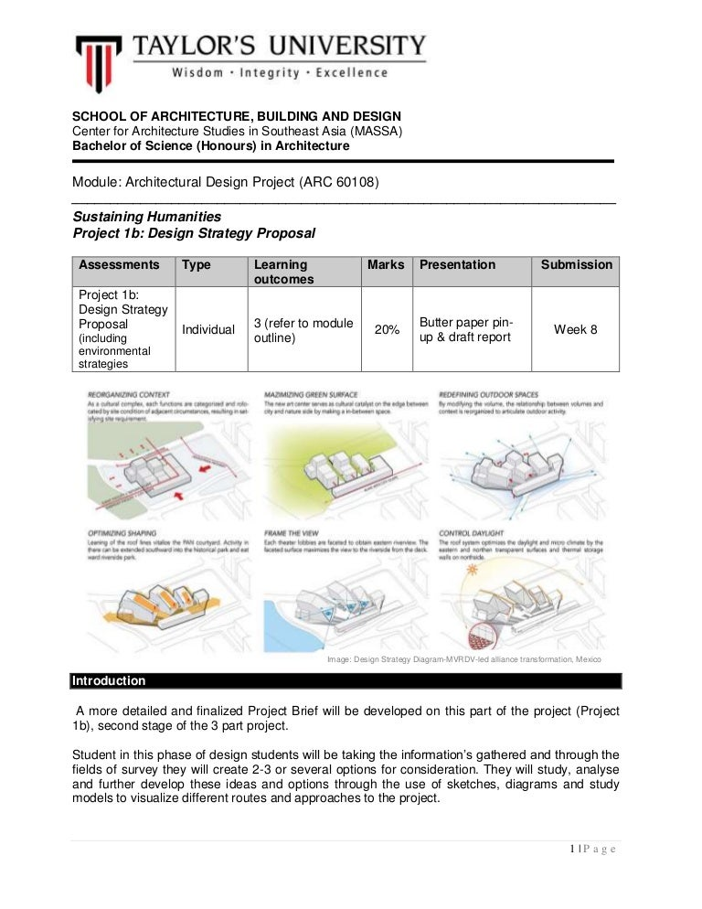 Architecture Design Brief architectural design project project 1b brief august 2016
