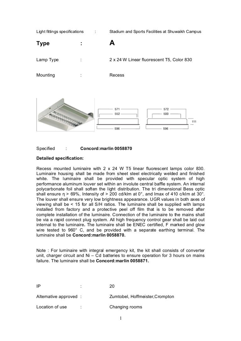 Architectural light fittings specifications for T5 Tube Light Specification  300lyp