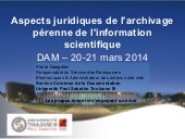 Aspects juridiques de l'archivage pérenne de l'information scientifique