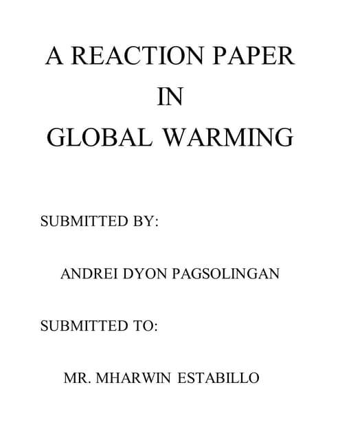 an inconvenient truth reaction paper