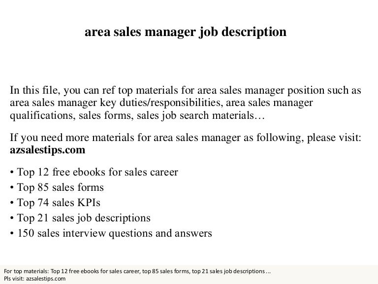 Sales Manager Job Description - Ex