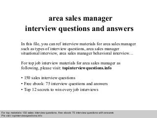 sales manager interview questions