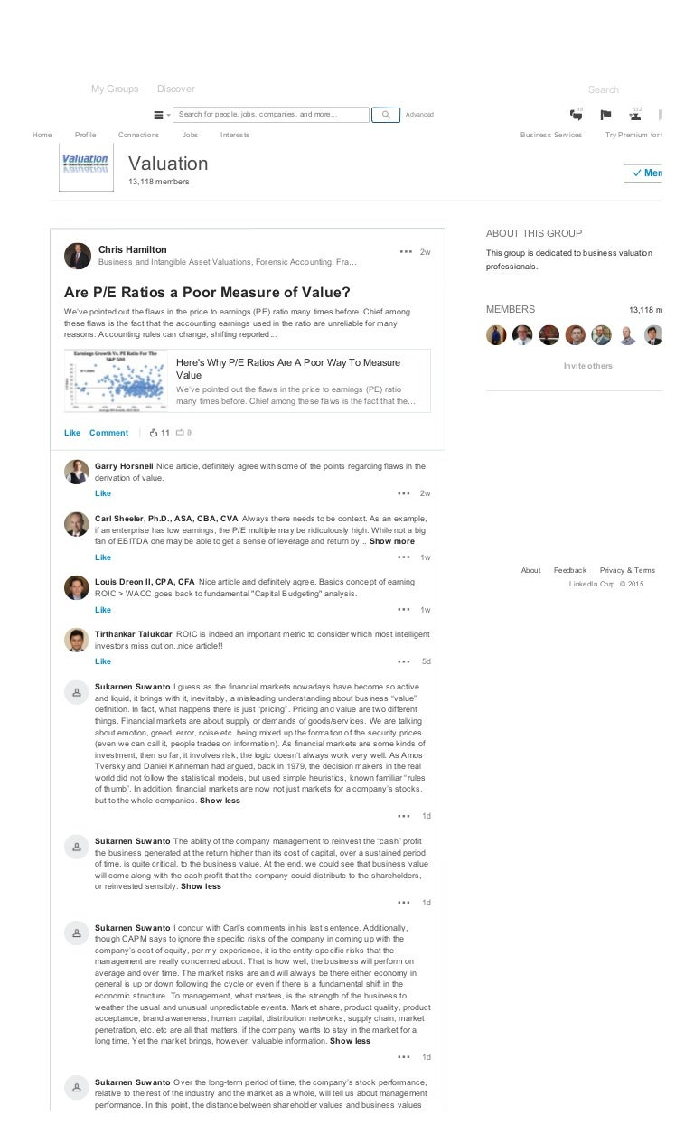 Are P E Ratios A Poor Measure Of Value Valuation Linkedin Discussion