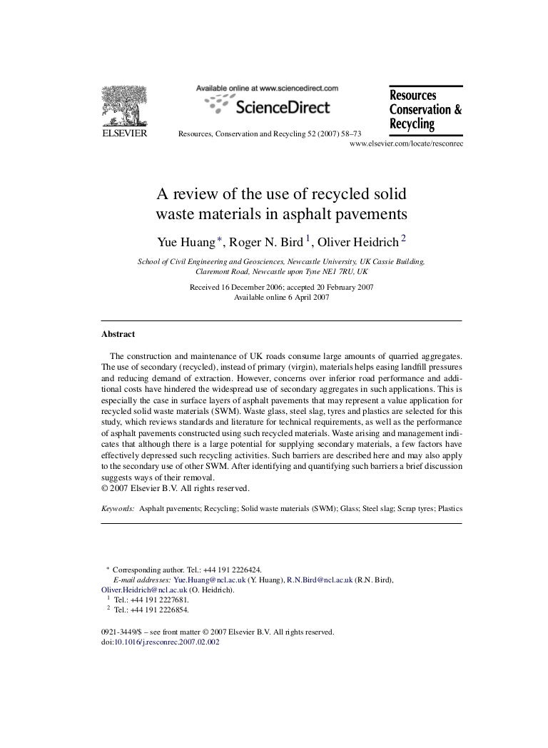 A Review Of The Use Of Recycled Solid Waste Materials In Asphalt Pave