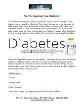Are You Ignoring Diabetes?