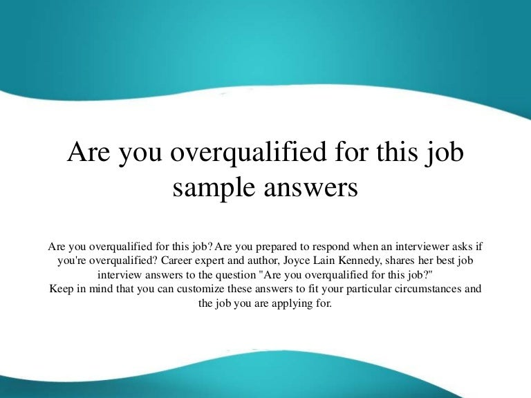overqualified for a job
