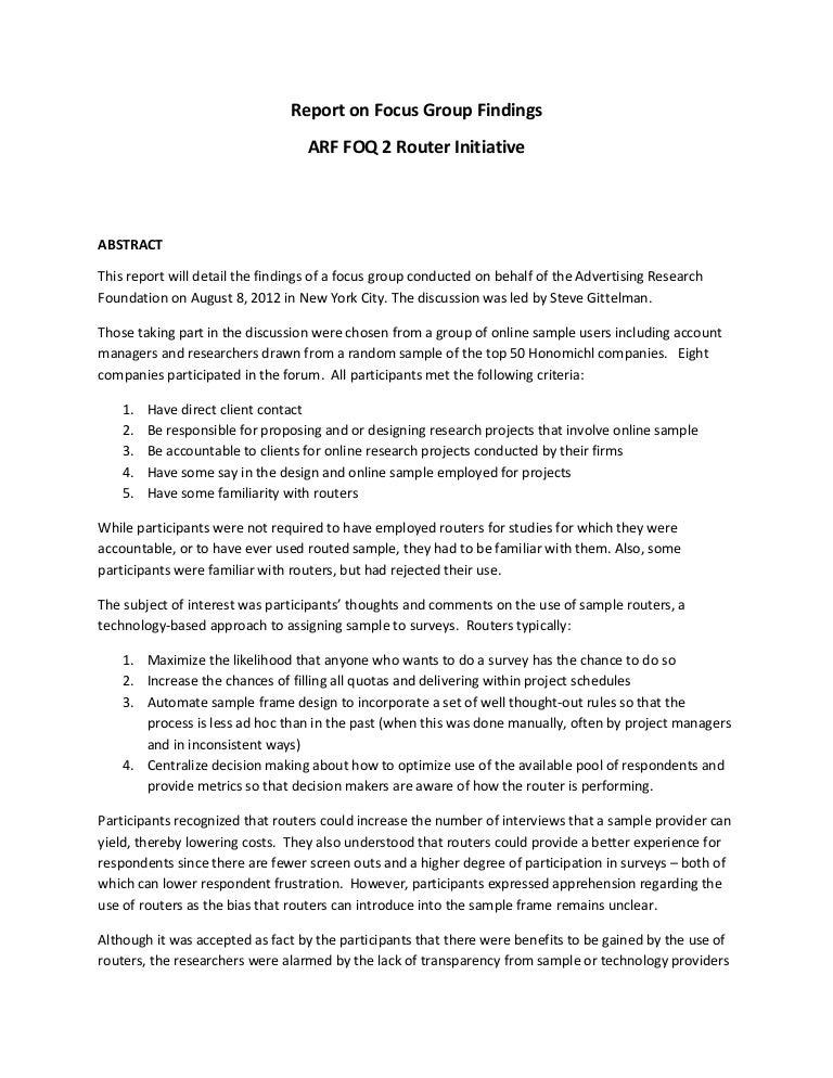 arf foq2 router focus group report. Black Bedroom Furniture Sets. Home Design Ideas