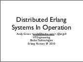 Distributed Erlang Systems In Operation