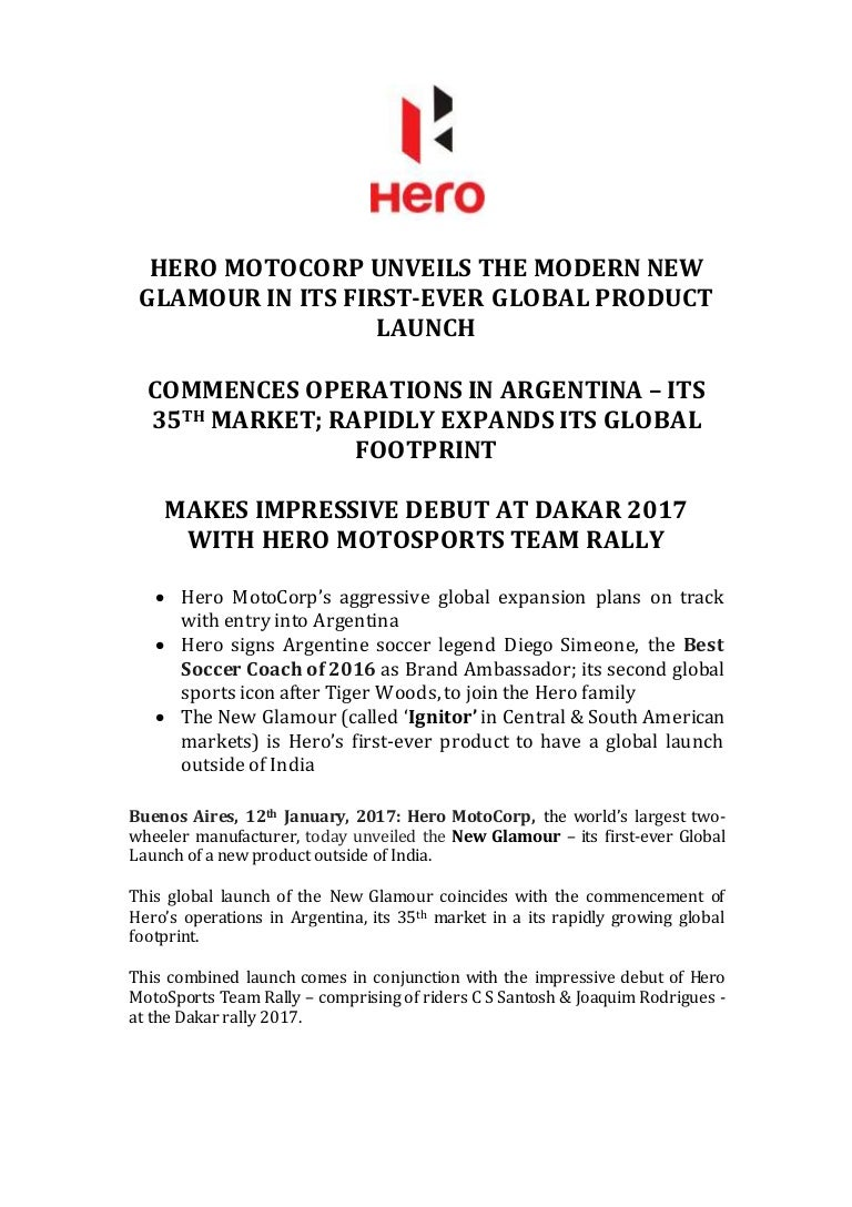 Hero Glamour Launch Argentina - Press Release
