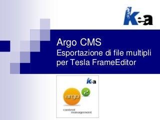 Argo CMS - Plugin per l'esportazione di file multipli per Tesla FrameEditor