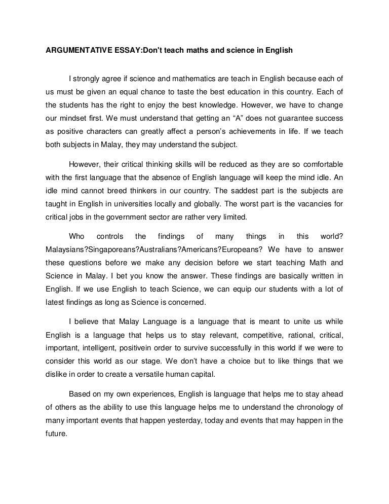 Argumentative Essay On English Language  Argumentative Essay On  Argumentative Essay On English Language
