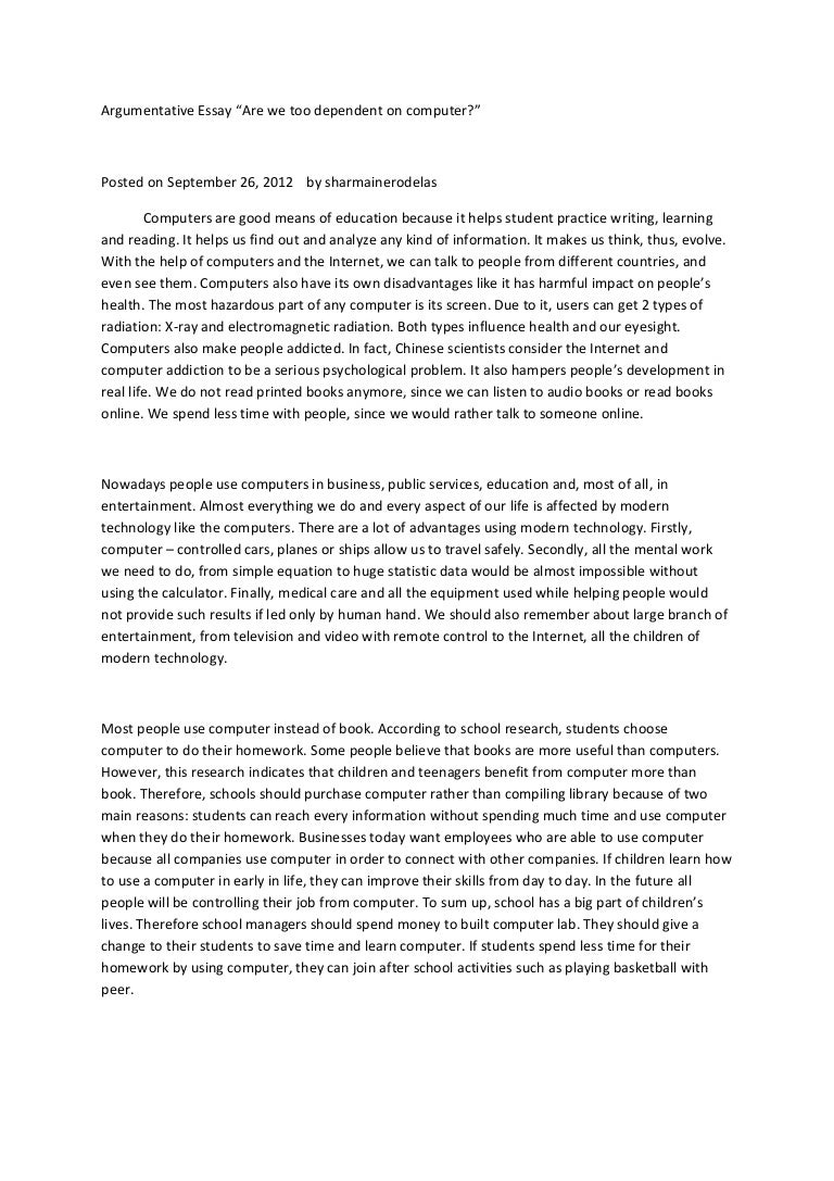 Health Insurance Essay Argumentative Essay On Computer Technology English Example Essay also Essay Writing Paper Argumentative Essay On Computer Technology  Computer Technology Essay English Essay