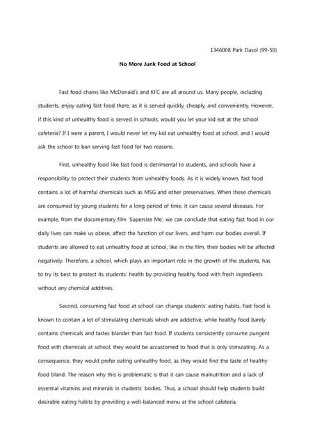 persuasive essay cafeteria food