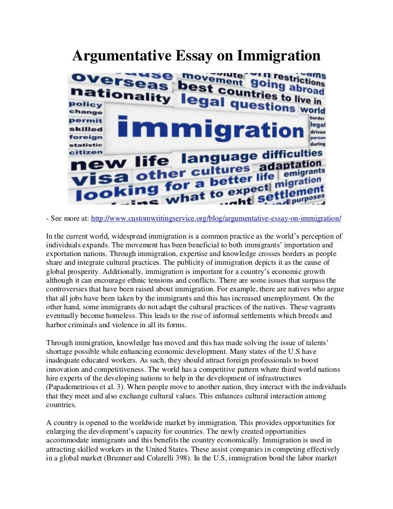 argumentative essay on immigration