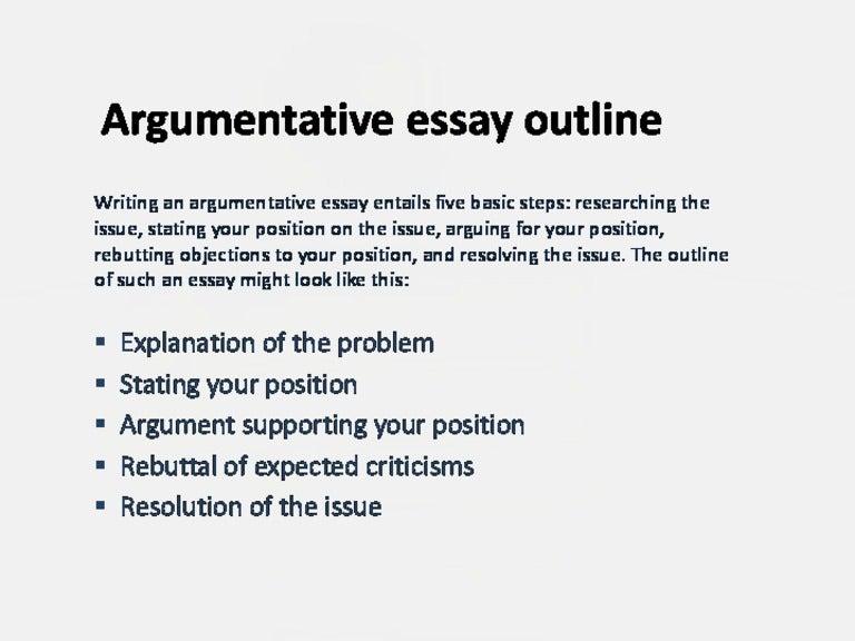 outline for argument essay