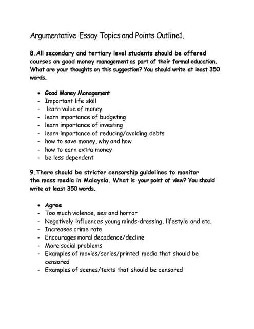 Argumentative Essay Topics &Points