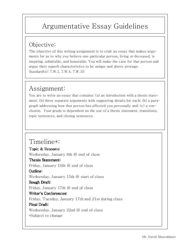 Argumentative essay guidelines
