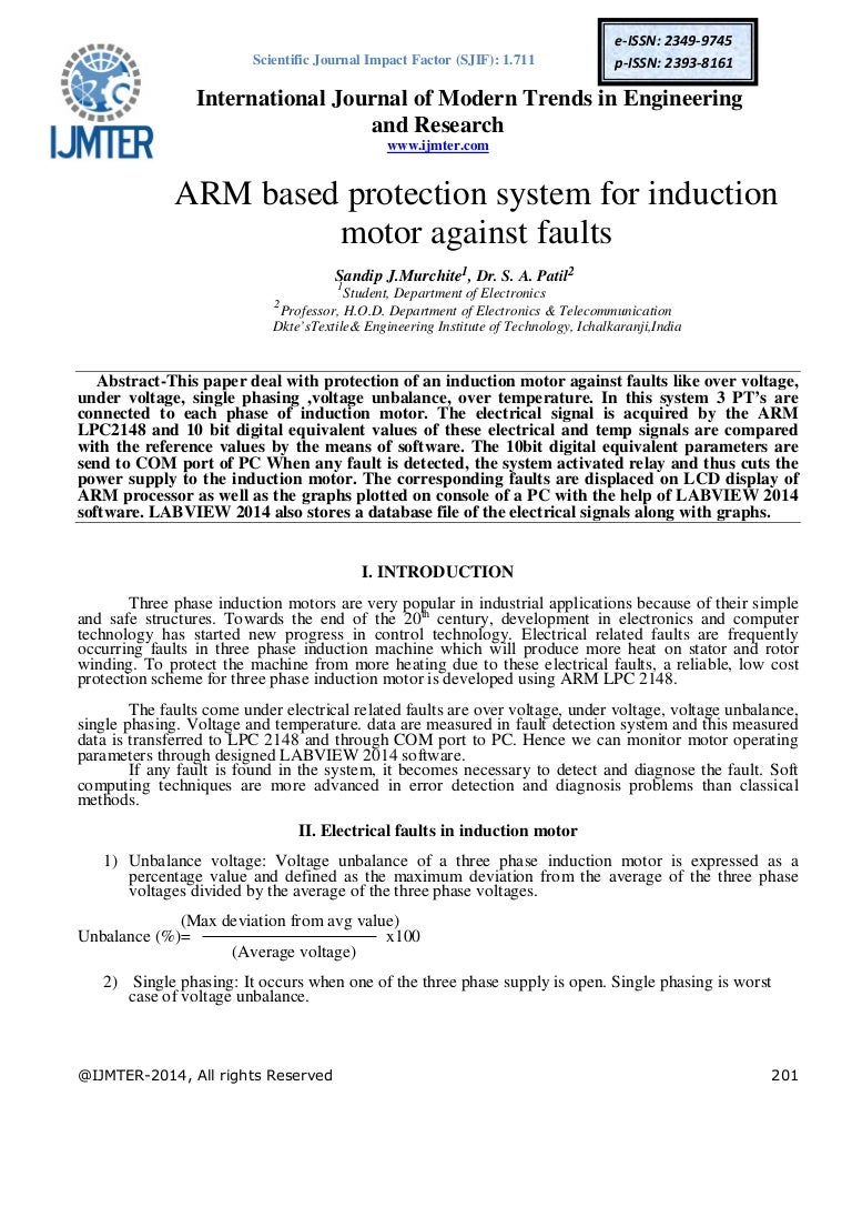 ARM based protection system for induction motor against faults